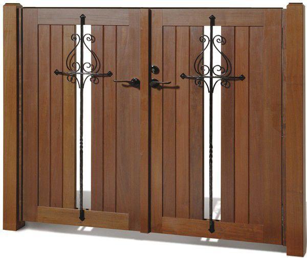 イペ材門扉 レグナ4型セット 門扉用柱付き 両開き扉2枚 幅1615mm ロートアイアン装飾付き
