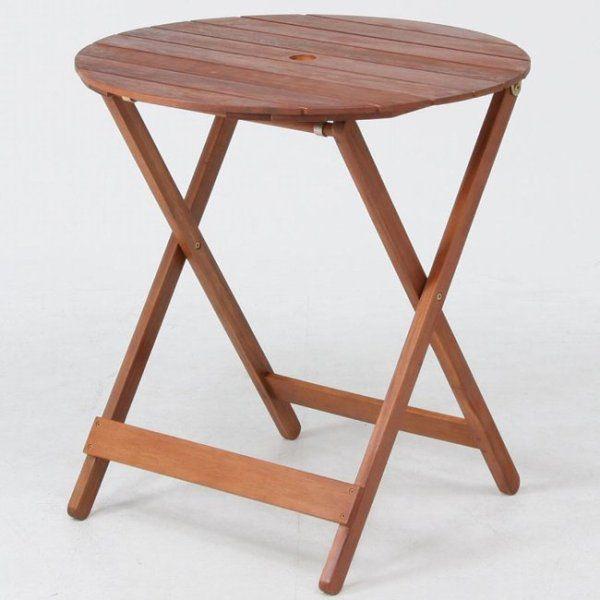 ガーデンテーブル 折りたたみテーブル カフェテーブル木製ラウンドテーブル丸天板直径685mm ガーデニングテーブル 完成品