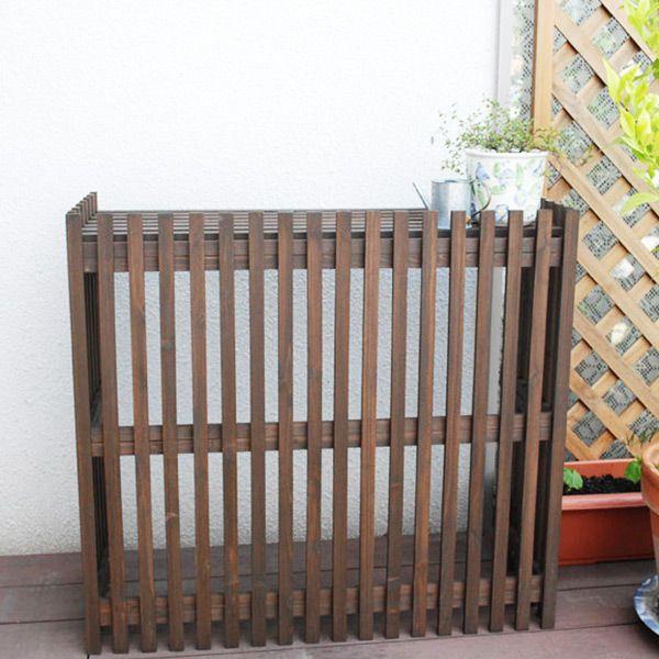 室外機カバー 木製 おしゃれ 縦ルーバー エアコン室外機カバー ライト875×800×365mm ダークブラウン エアコン 室外機 日よけ モダン ガーデンファニチャー 木製ガーデン家具 代引き不可