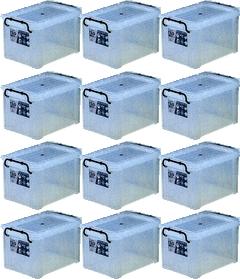 【スーパーSALE割引アイテム】 収納ボックス 収納ケース フタ付き プラスチック製 タグボックス03 透明(クリア) 約幅438×奥行293×高さ245mm お買い得12台セット 収納箱 道具箱 積み重ね可能 プレート付 衣装 衣類 書類 アウトドア キャンプ 作業 工事 整理整頓