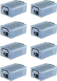 【スーパーSALE割引アイテム】 収納ボックス 収納ケース フタ付き プラスチック製 タグボックス04 透明(クリア) 約幅531×奥行361×高さ185mm お買い得8台セット 収納箱 道具箱 積み重ね可能 プレート付 衣装 衣類 書類 アウトドア キャンプ 作業 工事 整理整頓
