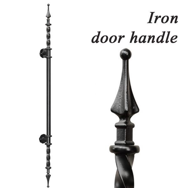 アイアン 取っ手 ハンドル 扉用 ドアハンドル ロング HRT-0004R 面付けタイプ ハンドメイド ブラック 玄関ドア ドア 装飾取っ手 ドアノブ