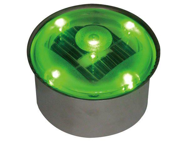 ソーラーライト 屋外 埋め込み LED ソーラーブリック SBH80RGR グリーン 緑 丸型 防水 防湿 Φ80×D47mm 屋外照明 アプローチライト 庭園灯 外灯 誘導灯 ガーデンライト 庭 外構 駐車場 照明 ライト ソーラー 照明器具 おしゃれ
