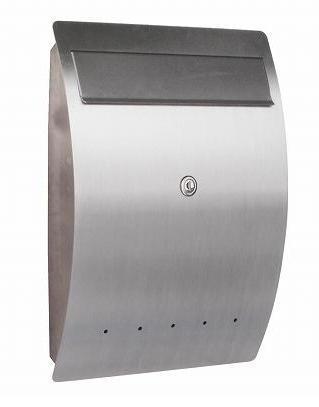 ポスト 郵便受け 壁掛け郵便ポスト ステンレスデザインポスト 鍵付 エルベ 壁掛け式 鍵付 ドイツserafini製 モダンスタイル
