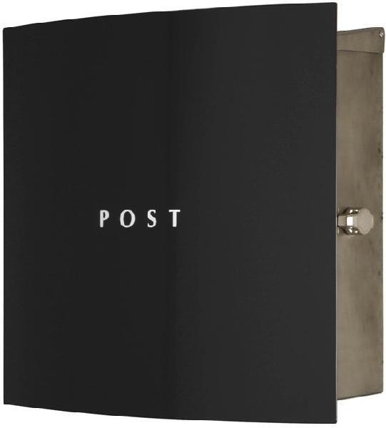 ポスト 郵便受け 壁掛け郵便ポスト ステンレスデザインポスト 鍵付き ボン ステンレス ブラック 壁掛け式 モダンスタイル