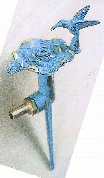 スプリンクラーフラワー散水栓バラ・ハチドリ青銅色 ガーデングッズ 水遣り 水やり 散水用品