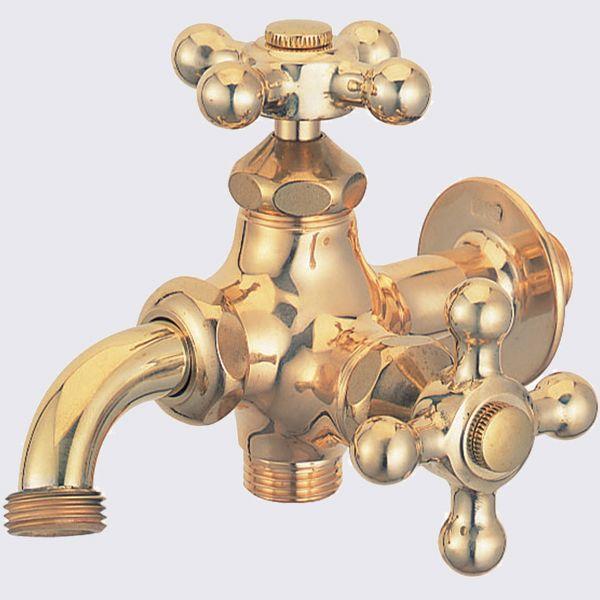 蛇口 立水栓 水栓柱に取付けガーデニング二口万能蛇口(研磨)十文字 ガーデン蛇口 水回り フォーセット