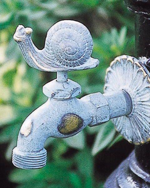 蛇口 立水栓 水栓柱に取付けアニマル蛇口(青銅色)カタツムリ ガーデン蛇口 水回り フォーセット