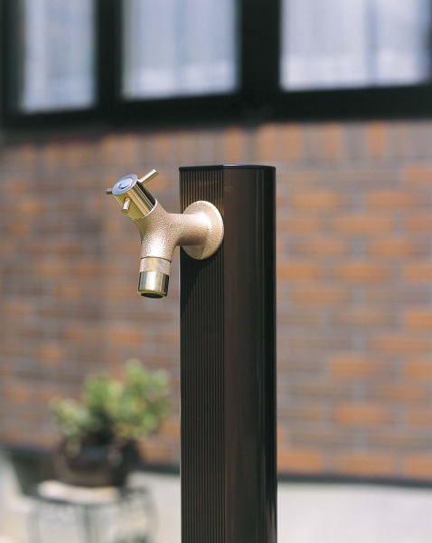立水栓 水栓柱 ガーデニング アルミramo蛇口鋳肌付きアルミ水栓ライトブロンズ1200 水回り ガーデン水栓柱 DIY