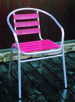 ガーデンチェア スタッキングチェア アルミチェア 赤 YC001-RED 2脚セット 完成品 重ね置き ガーデンファニチャー ベランダ椅子