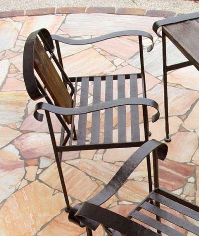 【ポイント最大23倍 ~5/30 23:59まで】 ガーデンチェア アイアンチェア アイアン&バーンウッドチェア ガーデン家具椅子 ロートアイアン ハンドメイド