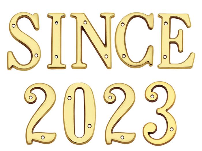 表札 真鍮切文字 102シリーズ SINCE2019セット商品 シンプル表札 店舗 看板 外構工事 新築祝いに