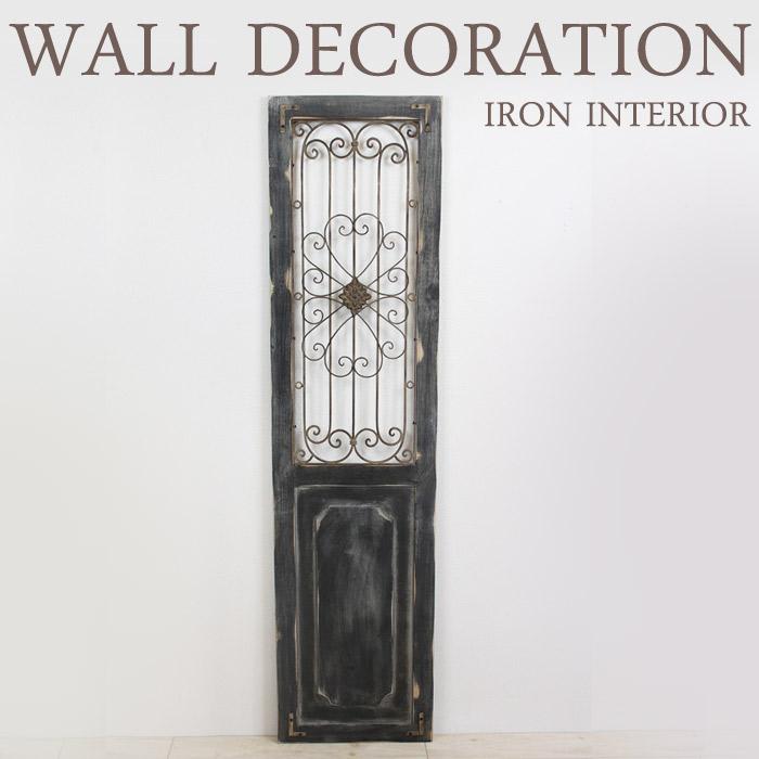 アイアン ウッド壁飾り ウォールデコレーション 壁掛け インテリア ウッドドアブラック ウォールオーナメント アートパネル インテリア雑貨 ディスプレイ 玄関 レトロ アンティーク おしゃれ