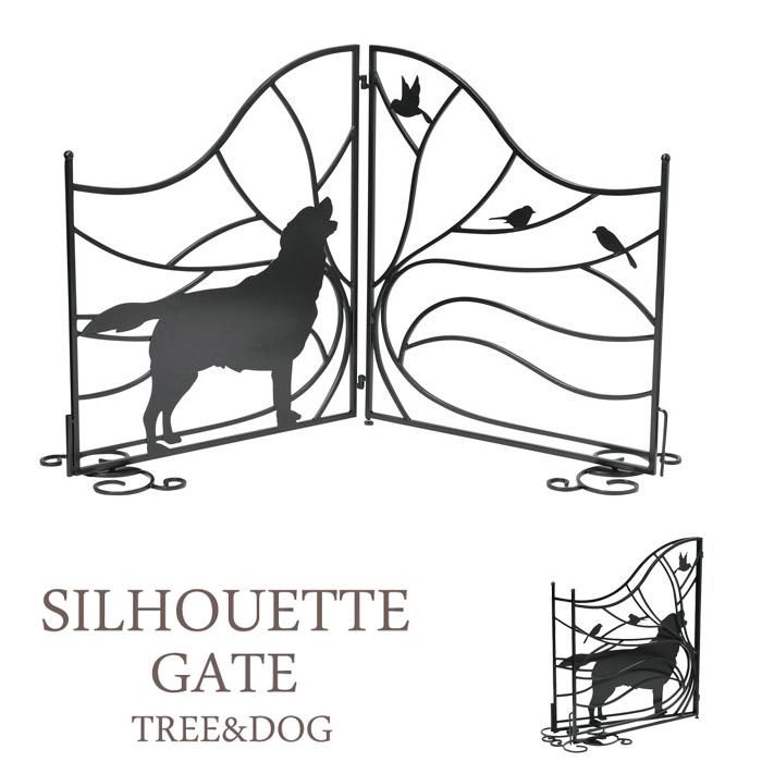 スチールフェンス シルエットゲート 最大幅 133 フェンス 室外機カバー 室内ゲート Tree&Dog 犬のシルエット