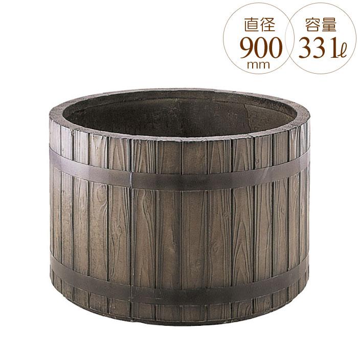 プランター 大型 円形 植木鉢 円柱形 GRCプランター ウッディー 木目 直径900×H580mm ガーデニング 園芸用品 【代引不可】