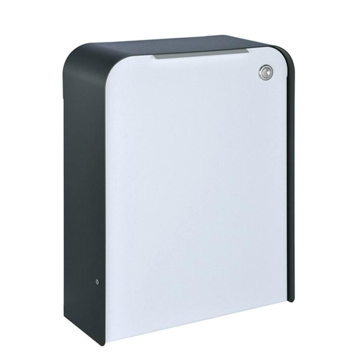 ポスト 郵便受け 壁掛け郵便ポスト デザインポスト 大型配達物対応 ゼラフィーニ メールボックス 鍵付き ステップ 外枠ブラック ボックスホワイト
