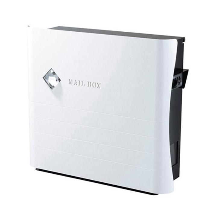 ポスト 郵便受け 壁掛け郵便ポスト デザインポスト 大型配達物対応 カーブス ホワイト ダイヤル錠付き