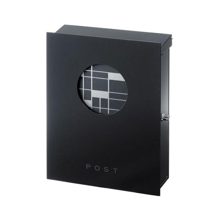 ポスト 郵便受け 壁掛け郵便ポスト デザインポスト 大型配達物対応 和の文 壁付け 柵 麻の葉 ヘアライン 右勝手 (T型カムロック付)