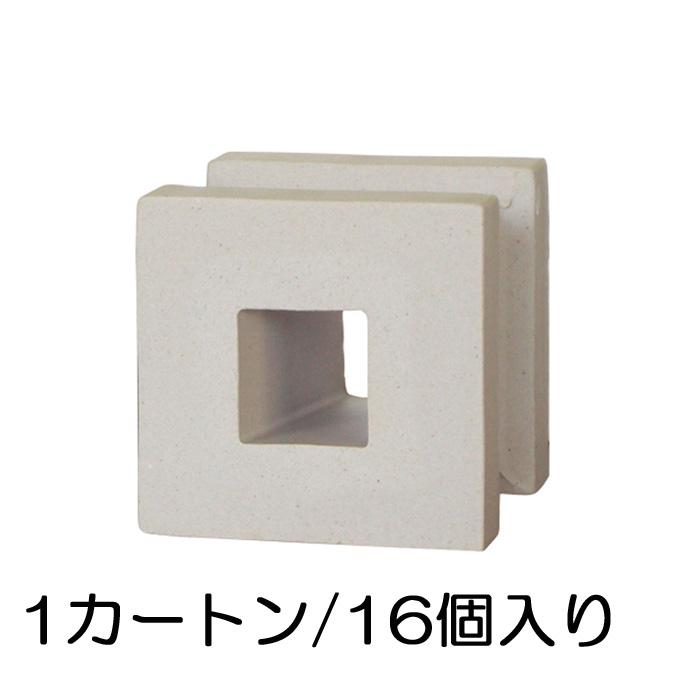 ブロック 塀 アプローチ エントランス 磁器質無釉ブロック ポーラスブロック100 ライトグレー スクエアB(配筋溝あり・4本角溝) 16個セット単位 屋外壁 diy