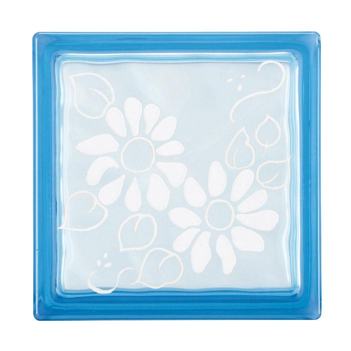 ガラスブロック 屋外壁 間仕切壁 壁飾り 日本 デザインガラスブロック 柄:ディージー 色:クリスタルブルー 1個単位 190×190×80mm リフォーム 新築 DIY アプローチ