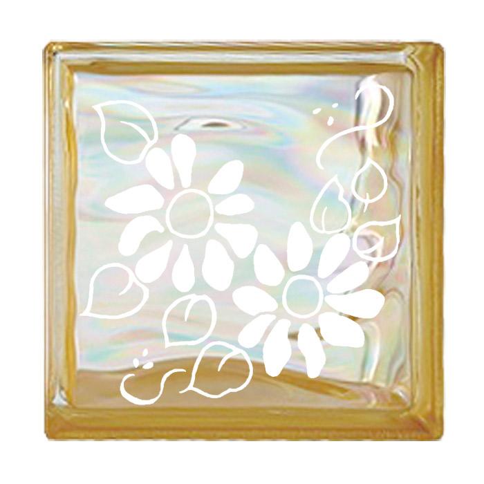 ガラスブロック 屋外壁 間仕切壁 壁飾り 日本 デザインガラスブロック 柄:ディージー 色:ウェービーイエロー 1個単位 190×190×80mm リフォーム 新築 DIY アプローチ