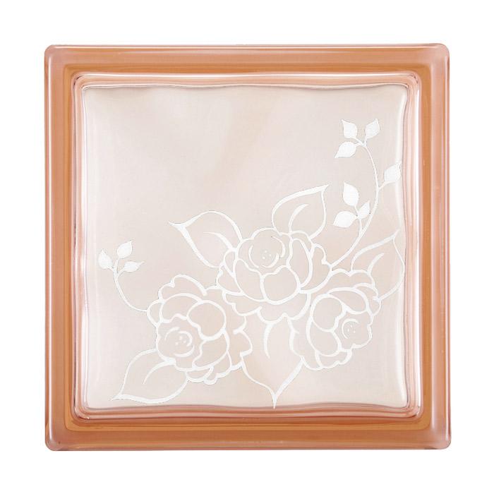 ガラスブロック 屋外壁 間仕切壁 壁飾り 日本 デザインガラスブロック 柄:バラ2 色:クリスタルピンク 1個単位 190×190×80mm リフォーム 新築 DIY アプローチ