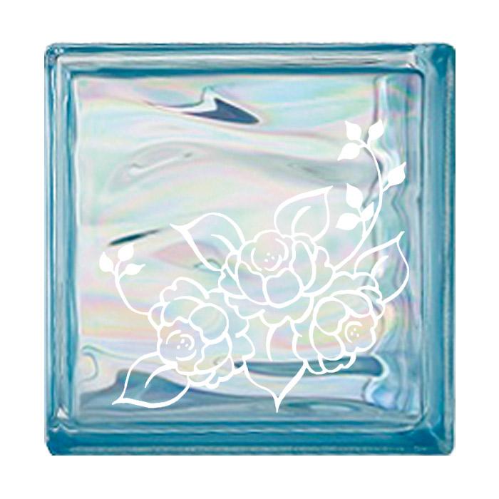 ガラスブロック 屋外壁 間仕切壁 壁飾り 日本 デザインガラスブロック 柄:バラ2 色:ウェービーブルー 1個単位 190×190×80mm リフォーム 新築 DIY アプローチ