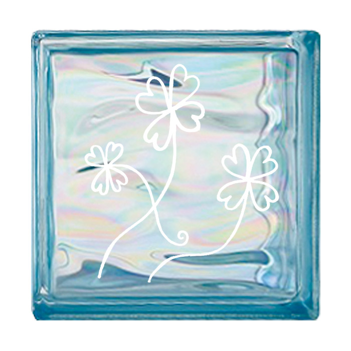 ガラスブロック 屋外壁 間仕切壁 壁飾り 日本 デザインガラスブロック 柄:クローバー 色:ウェービーブルー 1個単位 190×190×80mm リフォーム 新築 DIY アプローチ