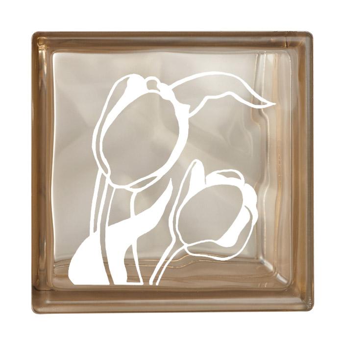 ガラスブロック 屋外壁 間仕切壁 壁飾り 日本 デザインガラスブロック 柄:チューリップ 色:クリスタルブラウン 1個単位 190×190×80mm リフォーム 新築 DIY アプローチ