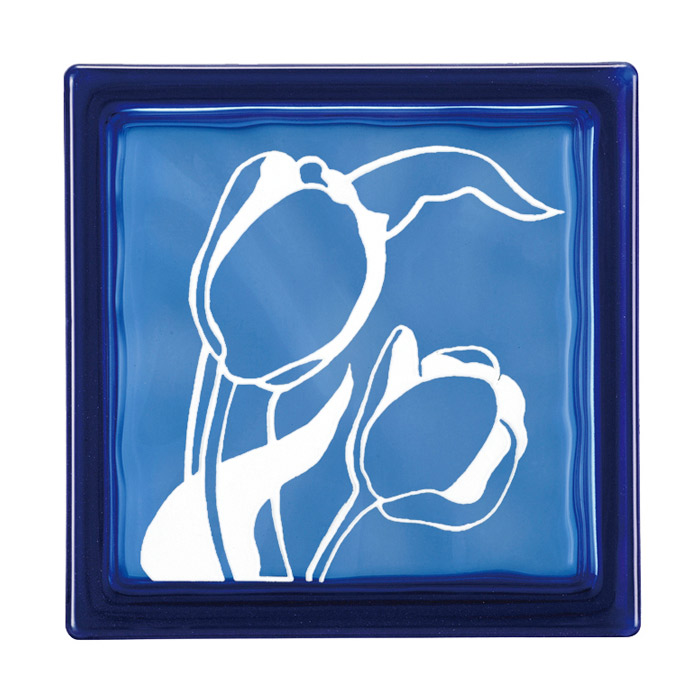 ガラスブロック 屋外壁 間仕切壁 壁飾り 日本 デザインガラスブロック 柄:チューリップ 色:ダークブルー 1個単位 190×190×80mm リフォーム 新築 DIY アプローチ