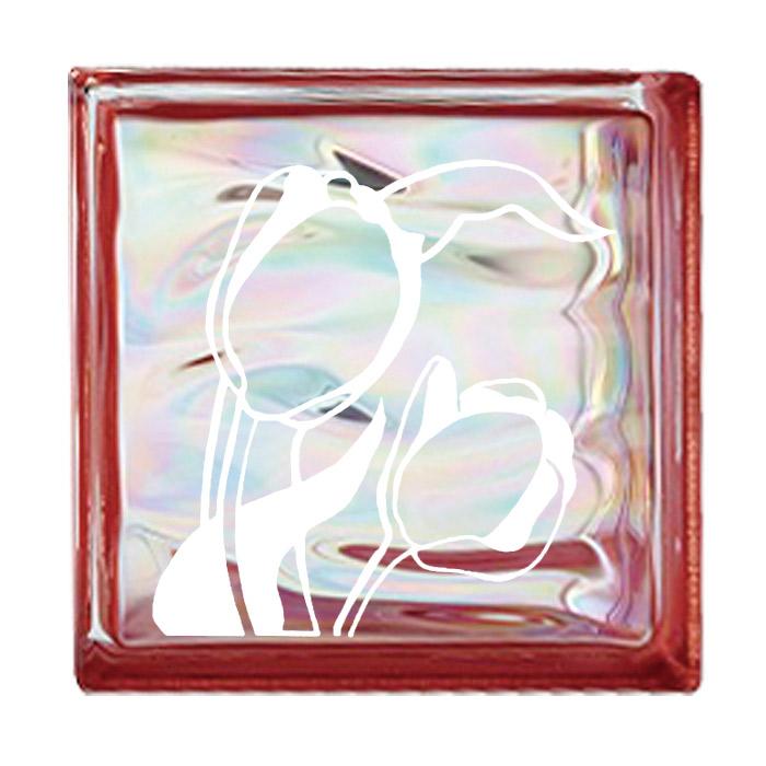 【ポイント最大23倍 ~5/30 23:59まで】 ガラスブロック 屋外壁 間仕切壁 壁飾り 日本 デザインガラスブロック 柄:チューリップ 色:ウェービーレッド 1個単位 190×190×80mm リフォーム 新築 DIY アプローチ