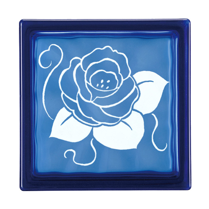 ガラスブロック 屋外壁 間仕切壁 壁飾り 日本 デザインガラスブロック 柄:バラ 色:ダークブルー 1個単位 190×190×80mm リフォーム 新築 DIY アプローチ