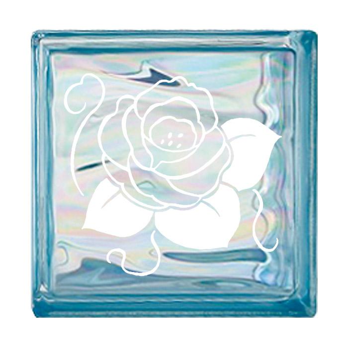ガラスブロック 屋外壁 間仕切壁 壁飾り 日本 デザインガラスブロック 柄:バラ 色:ウェービーブルー 1個単位 190×190×80mm リフォーム 新築 DIY アプローチ