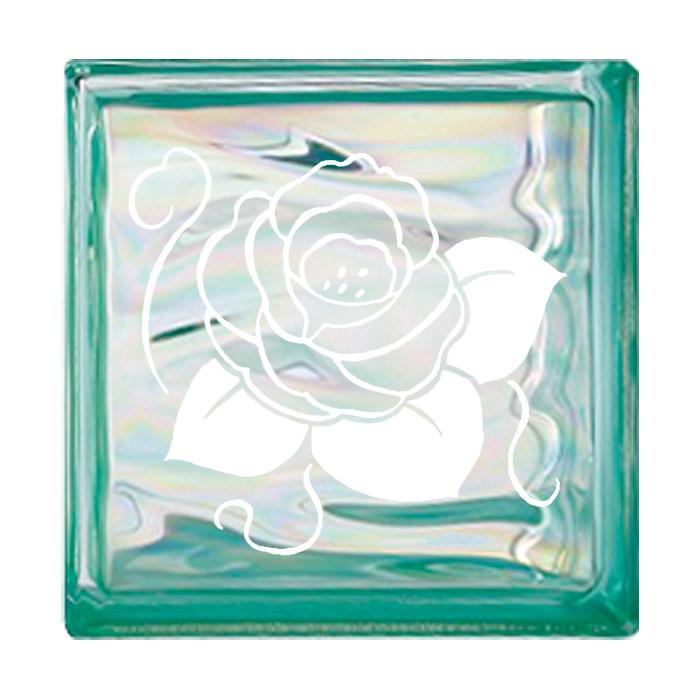 ガラスブロック 屋外壁 間仕切壁 壁飾り 日本 デザインガラスブロック 柄:バラ 色:ウェービーグリーン 1個単位 190×190×80mm リフォーム 新築 DIY アプローチ