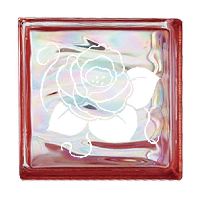 ガラスブロック 屋外壁 間仕切壁 壁飾り 日本 デザインガラスブロック 柄:バラ 色:ウェービーレッド 1個単位 190×190×80mm リフォーム 新築 DIY アプローチ