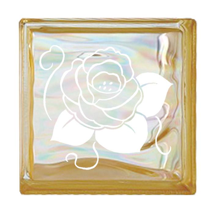 ガラスブロック 屋外壁 間仕切壁 壁飾り 日本 デザインガラスブロック 柄:バラ 色:ウェービーイエロー 1個単位 190×190×80mm リフォーム 新築 DIY アプローチ