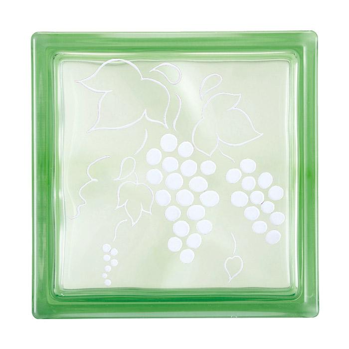 ガラスブロック 屋外壁 間仕切壁 壁飾り 日本 デザインガラスブロック 柄:葡萄 色:クリスタルグリーン 1個単位 190×190×80mm リフォーム 新築 DIY アプローチ