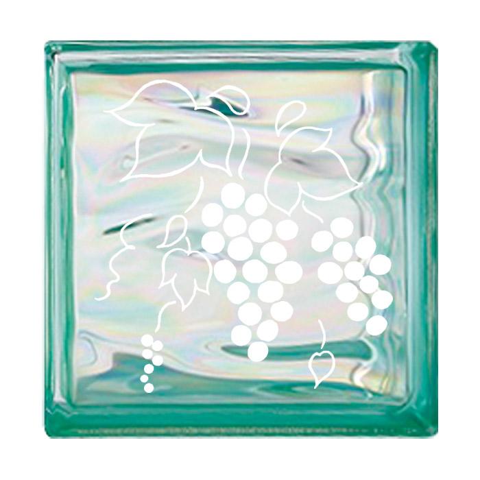 ガラスブロック 屋外壁 間仕切壁 壁飾り 日本 デザインガラスブロック 柄:葡萄 色:ウェービーグリーン 1個単位 190×190×80mm リフォーム 新築 DIY アプローチ