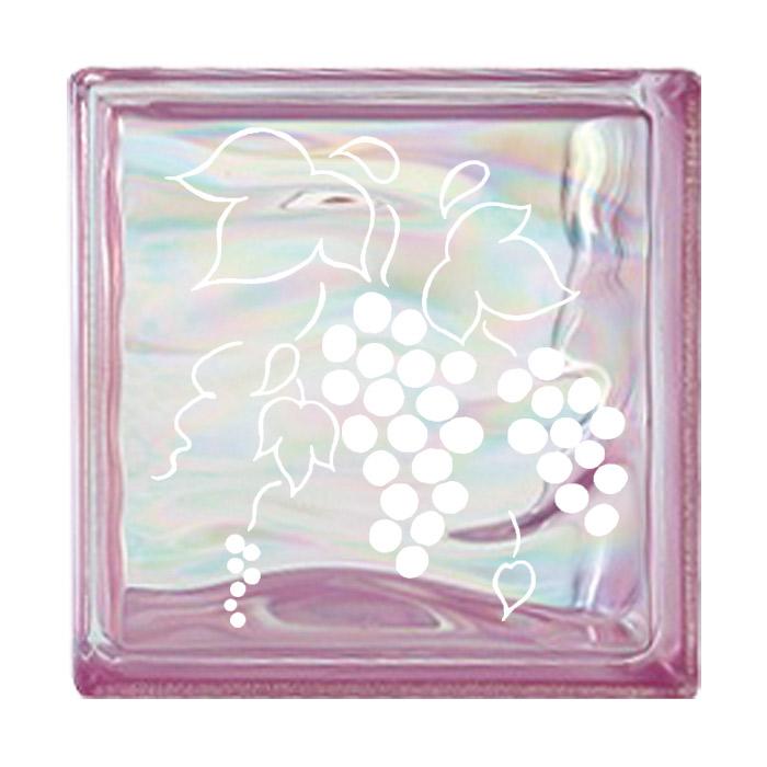 ガラスブロック 屋外壁 間仕切壁 壁飾り 日本 デザインガラスブロック 柄:葡萄 色:ウェービーピンク 1個単位 190×190×80mm リフォーム 新築 DIY アプローチ