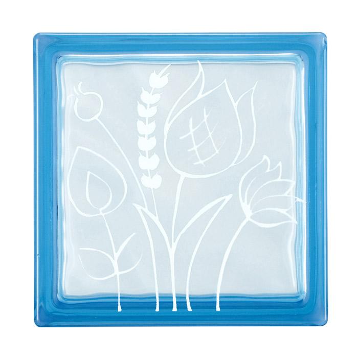 ガラスブロック 屋外壁 間仕切壁 壁飾り 日本 デザインガラスブロック 柄:チューリップ2 色:クリスタルブルー 1個単位 190×190×80mm リフォーム 新築 DIY アプローチ
