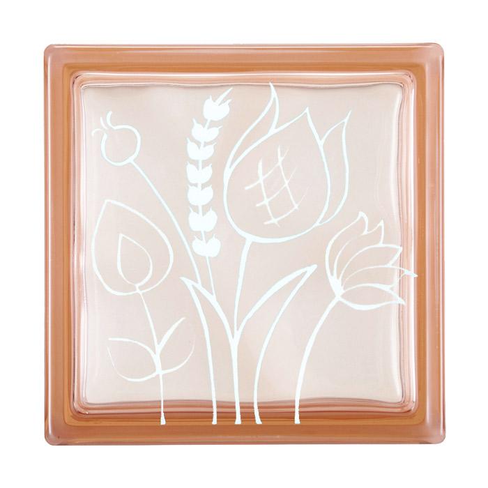ガラスブロック 屋外壁 間仕切壁 壁飾り 日本 デザインガラスブロック 柄:チューリップ2 色:クリスタルピンク 1個単位 190×190×80mm リフォーム 新築 DIY アプローチ