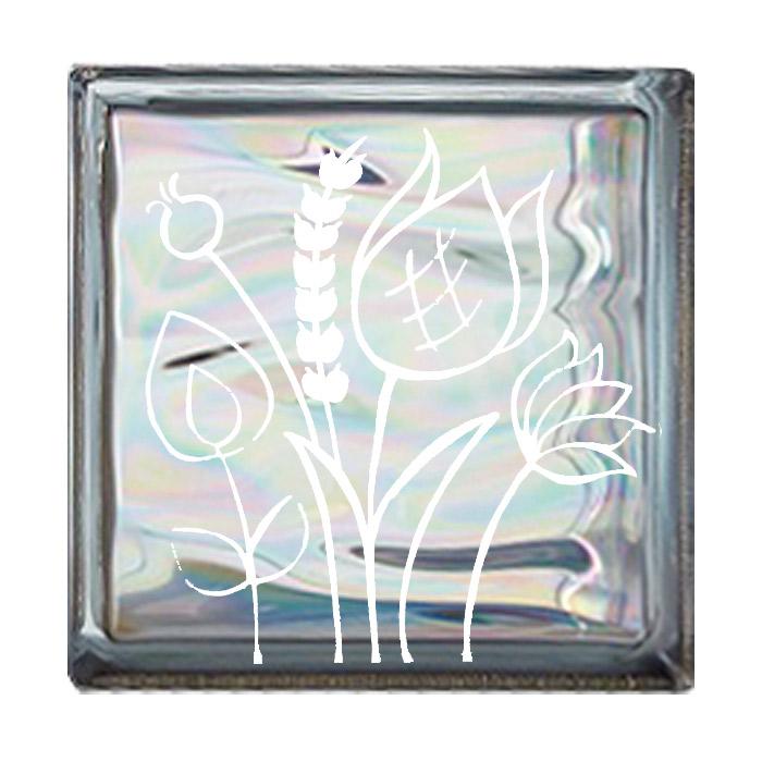 ガラスブロック 屋外壁 間仕切壁 壁飾り 日本 デザインガラスブロック 柄:チューリップ2 色:ウェービーグレー 1個単位 190×190×80mm リフォーム 新築 DIY アプローチ