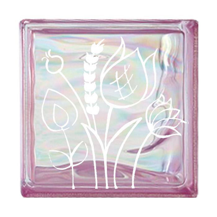 ガラスブロック 屋外壁 間仕切壁 壁飾り 日本 デザインガラスブロック 柄:チューリップ2 色:ウェービーピンク 1個単位 190×190×80mm リフォーム 新築 DIY アプローチ