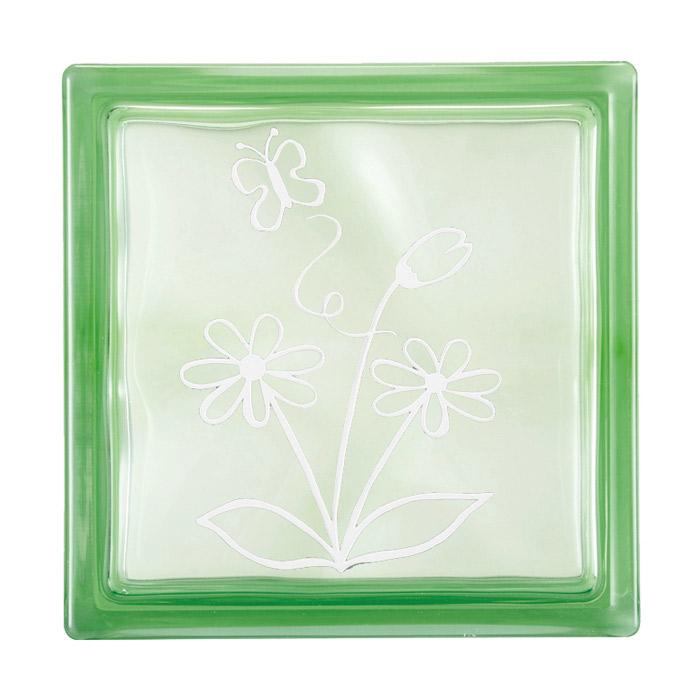 ガラスブロック 屋外壁 間仕切壁 壁飾り 日本 デザインガラスブロック 柄:蝶 色:クリスタルグリーン 1個単位 190×190×80mm リフォーム 新築 DIY アプローチ