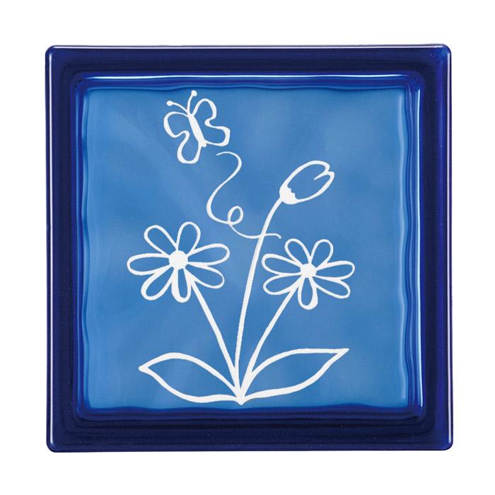 ガラスブロック 屋外壁 間仕切壁 壁飾り 日本 デザインガラスブロック 柄:蝶 色:ダークブルー 1個単位 190×190×80mm リフォーム 新築 DIY アプローチ