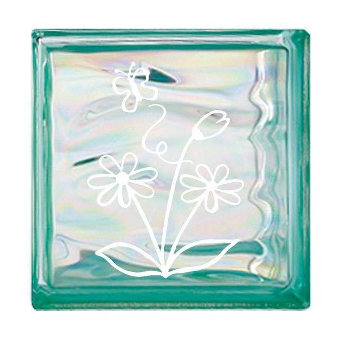 ガラスブロック 屋外壁 間仕切壁 壁飾り 日本 デザインガラスブロック 柄:蝶 色:ウェービーグリーン 1個単位 190×190×80mm リフォーム 新築 DIY アプローチ