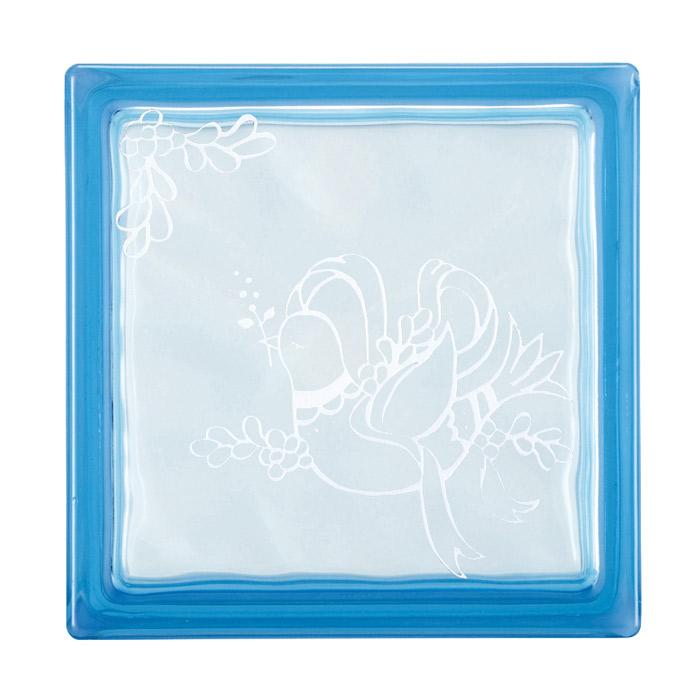 ガラスブロック 屋外壁 間仕切壁 壁飾り 日本 デザインガラスブロック 柄:鳩 色:クリスタルブルー 1個単位 190×190×80mm リフォーム 新築 DIY アプローチ