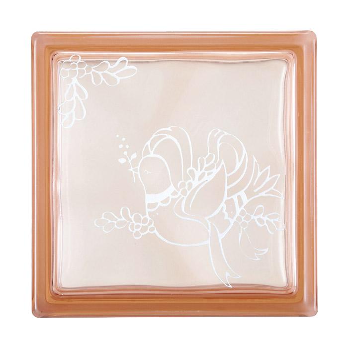ガラスブロック 屋外壁 間仕切壁 壁飾り 日本 デザインガラスブロック 柄:鳩 色:クリスタルピンク 1個単位 190×190×80mm リフォーム 新築 DIY アプローチ