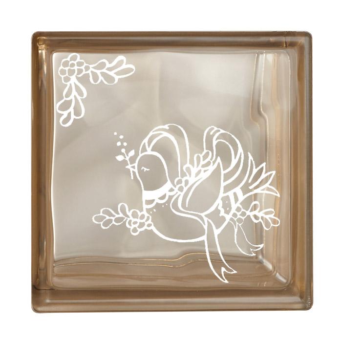 ガラスブロック 屋外壁 間仕切壁 壁飾り 日本 デザインガラスブロック 柄:鳩 色:クリスタルブラウン 1個単位 190×190×80mm リフォーム 新築 DIY アプローチ