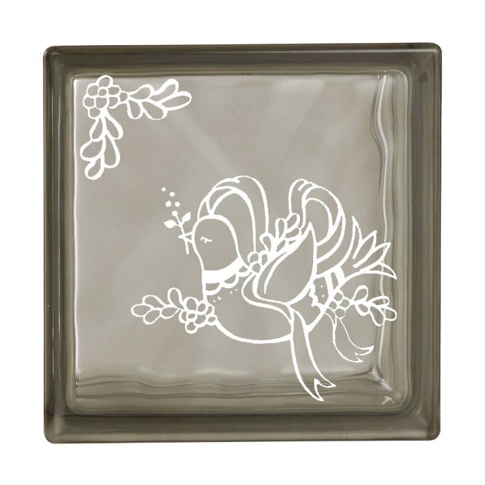 ガラスブロック 屋外壁 間仕切壁 壁飾り 日本 デザインガラスブロック 柄:鳩 色:グレー 1個単位 190×190×80mm リフォーム 新築 DIY アプローチ